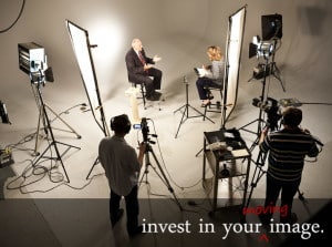 Mike Kochenour, President of York Traditions Bank, on the set of a TV commercial spot in our studio.